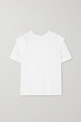 Victoria Victoria Beckham Ruffle-trimmed Cotton-jersey T-shirt - White
