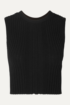 Dion Lee Opacity Cropped Ribbed-knit Tank - Black