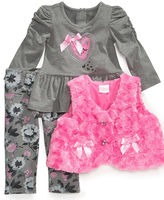 Nannette Baby Set, Baby Girl 3 Piece Shirt, Vest and Pants Set