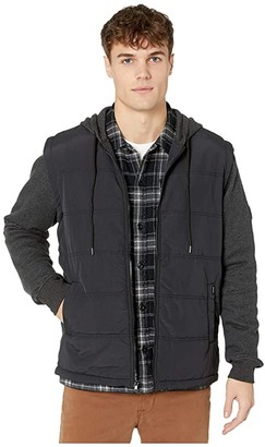 RVCA Logan Puffer Jacket (Black/Grey) Men's Coat