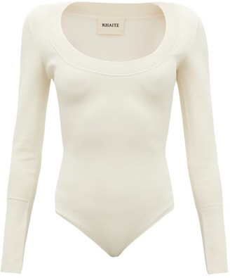 KHAITE Kerry Scoop-neck Jersey Bodysuit - Ivory