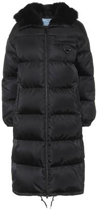 Prada Shearling-trimmed down coat