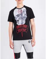 Philipp Plein Embellished Skull-print Cotton-jersey T-shirt