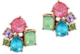 Betsey Johnson Faceted Cluster Button Stud Earrings
