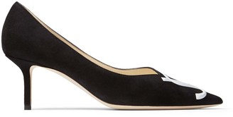 Jimmy Choo LOVE 65/JC Black Suede and Patent White Pointy Toe Pumps