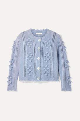 LoveShackFancy Gigi Cropped Pompom-embellished Mohair-blend Cardigan - Blue