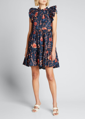Ulla Johnson Eden Floral Flutter-Sleeve Short Dress