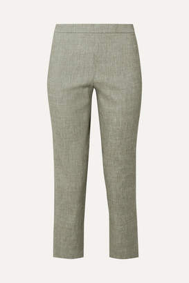Theory Organic Linen-blend Straight-leg Pants - Gray green