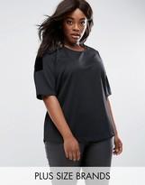 Junarose Short Sleeve Top With Velvet Shoulder Detail