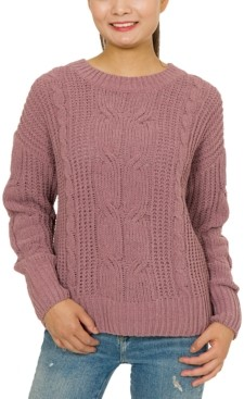Hippie Rose Juniors' Mixed-Knit Chenille Sweater