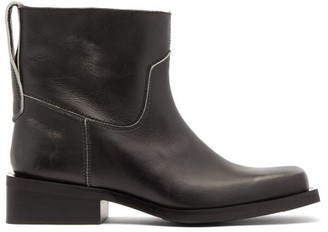 Ganni Mc Distressed Leather Western Boots - Womens - Black