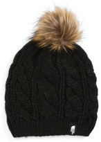 The North Face Girl's Triple Cable Beanie With Faux Fur Pom - Black