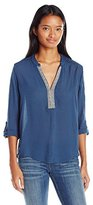 Jolt Women's Tunic Woven Top with Lace Insets and Ethnic Trims on Placket