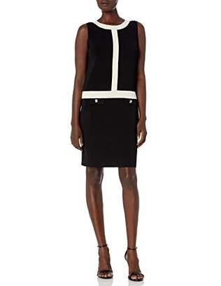 Anne Klein Women's Sleeveless Sheath Colorblock Sweater Dress