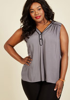 ModCloth Cafe au Soleil Sleeveless Top in Charcoal in S