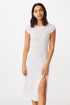 Cotton On Elsa Short Sleeve Split Front Midi Dress