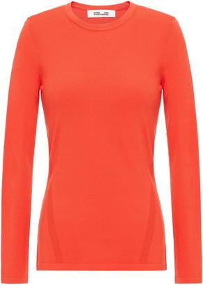 Diane von Furstenberg Jess Paneled Ribbed And Stretch-knit Top