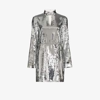 Tibi Womens Silver Avril Sequin Mini Dress
