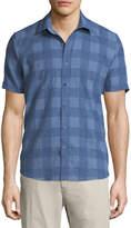 Neiman Marcus Buffalo-Check Short-Sleeve Sport Shirt