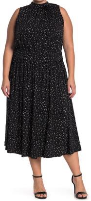 Leota Aria Floral Dot Jersey Midi Dress