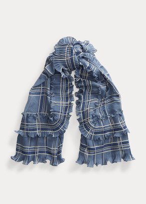 Ralph Lauren Plaid Ruffled Silk Scarf