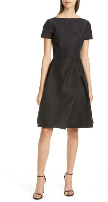Carolina Herrera Beatuea Neck Silk A-Line Dress