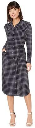 Lauren Ralph Lauren Check-Print Jersey Shirtdress (Lauren Navy/Pale Cream) Women's Clothing