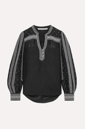 Veronica Beard Carta Embroidered Silk-blend Blouse - Black
