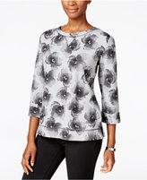 Karen Scott Floral-Print Sweatshirt, Only at Macy's