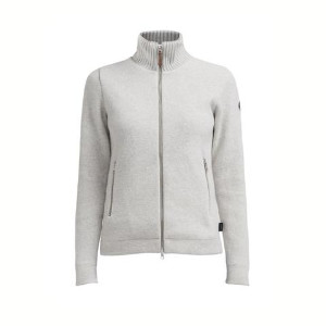 Holebrook - Claire Fullzip Knitted Wind Proof Jacket - XS / Grey Melange