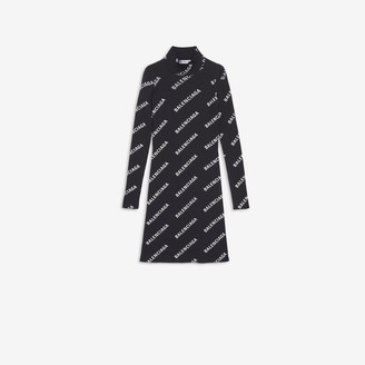 Balenciaga Allover Logo Mini Dress in black and white printed technical ribbed knit