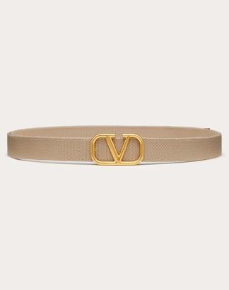 Valentino Garavani Uomo Vlogo Signature Tape Belt Man Ivory Polyester 100% OneSize
