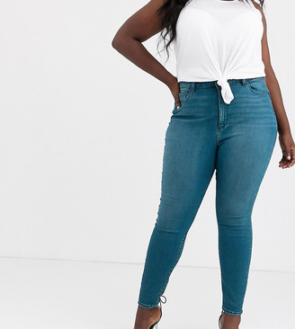 ASOS DESIGN Curve high rise ridley 'skinny' jeans in sea blue wash