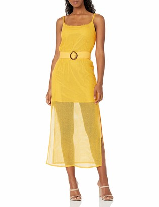 Finders Keepers findersKEEPERS Women's Sleeveless Belted Coconut Illusion Midi Dress