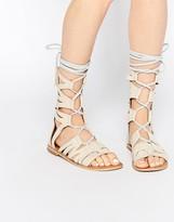 Free People Mesa Verde Nude Ghille Gladiator Knee Flat Sandals