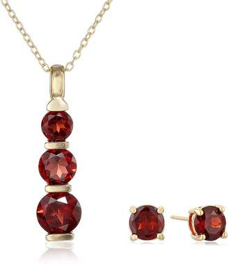 18K Yellow Gold Plated .925 Sterling Silver Garnet 3-Stone Journey Pendant Necklace and Stud Earrings Set