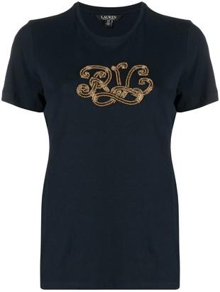 Lauren Ralph Lauren bead embellished monogram T-shirt