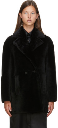 Max Mara Black Shearling Murano Coat