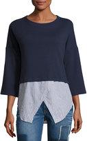 Derek Lam 10 Crosby Faux 2-in-1 Sweatshirt & Shirt Combo Top, Navy