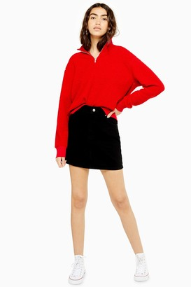 Topshop Denim Black Mini Skirt