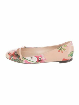 Gucci Blooms Print Leather Ballet Flats Green