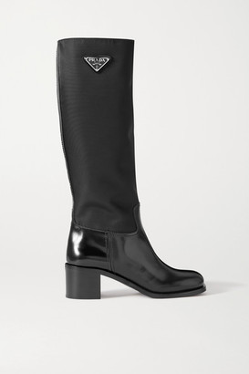 Prada Logo-embellished Glossed-leather And Nylon Knee Boots - Black