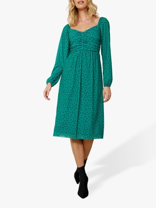 Sosandar Polka Dot Ruched Front Long Sleeve Sweetheart Dress, Green/Black