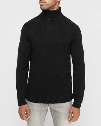 Express Diagonal Stitched Turtleneck Sweater