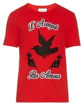 Gucci Hummingbird-appliqué Cotton-jersey T-shirt