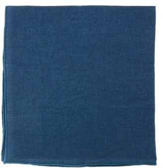 Once Milano - Set Of Four Rolled-edge Linen Napkins - Blue