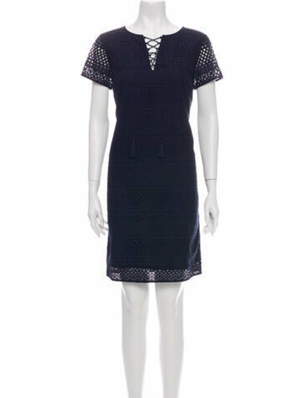 Brooks Brothers Tie Neck Mini Dress w/ Tags Blue