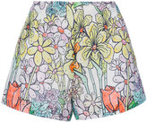 Moschino paint by number print tap shorts - women - Cotton/Viscose - 40