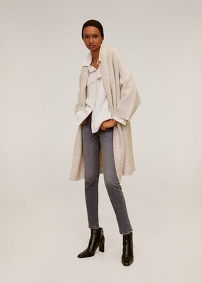 MANGO Knit long cardigan light/pastel grey - L - Women