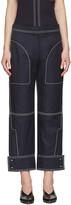 Stella McCartney Navy Buttoned Cuff Stitching Trousers